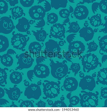 Seamless pattern with silhouettes of cute monsters. - stock vector