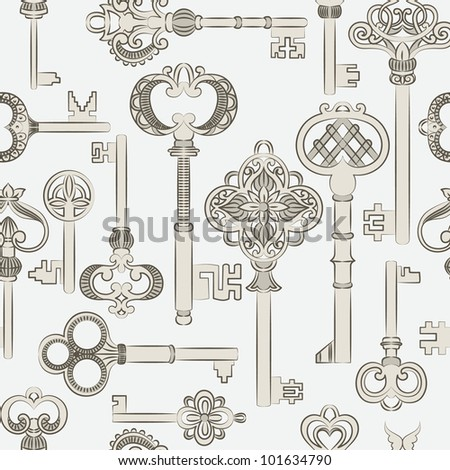 Seamless pattern with silver antique keys