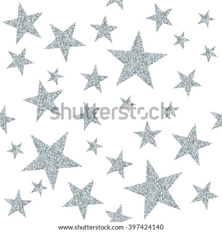 Seamless pattern with silver stars on white background. Vector illustration. - stock vector