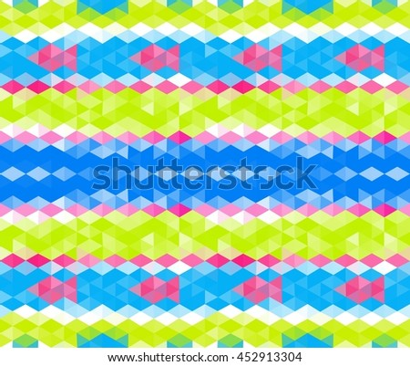 Seamless pattern with simple fishes. Triangular mosaic style. Tileable background - stock vector