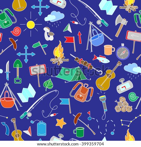 Seamless pattern with simple hand-drawn colored icons on the theme of camping and traveling on blue background