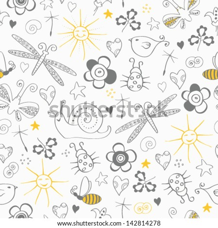 Seamless pattern with simple summer items - stock vector