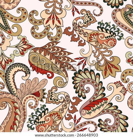 seamless  pattern with six decorative paisley in brown and beige tones on a light background