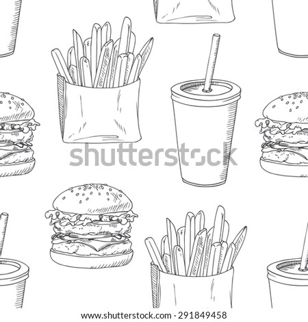 Seamless pattern with sketched burger, french fries and milk shake. Background template for fast food restaurant design. Hand drawn food background. Vector illustration