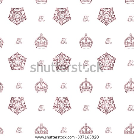 Seamless pattern with sketchy monochrome royal crowns, Tudor roses and queen Elizabeth's monograms on white background. EPS10 vector illustration. - stock vector