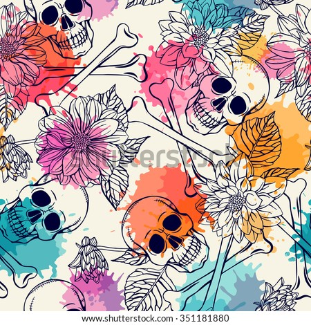 seamless pattern with skull and dahlia - stock vector