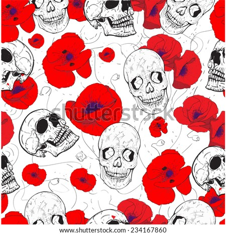 Seamless pattern with skulls and flowers poppy - stock vector