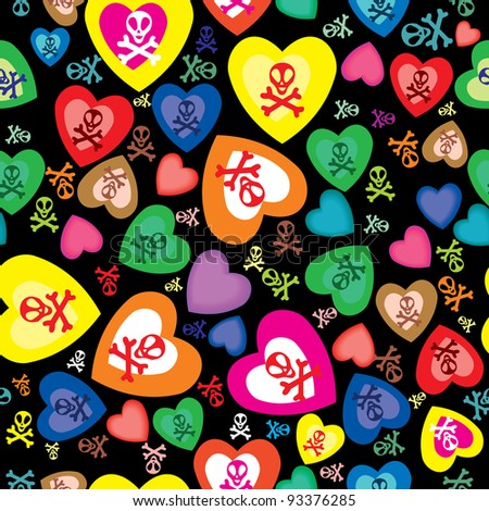 seamless pattern with skulls, bones and hearts - stock vector