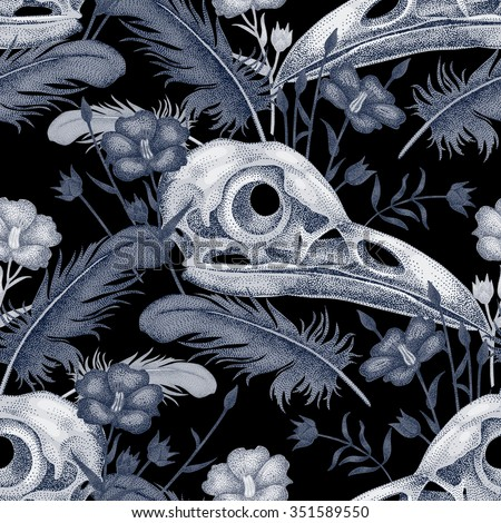 Seamless pattern with skulls, feathers and flowers. Decorative composition on the theme of death in white and black. - stock vector