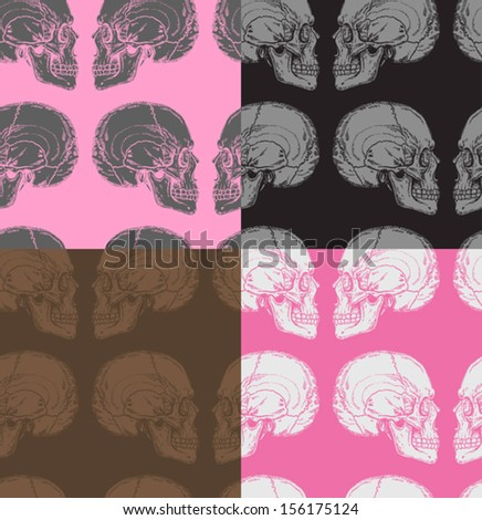 seamless pattern with skulls in pink, grey, white, black and brown colors - stock vector