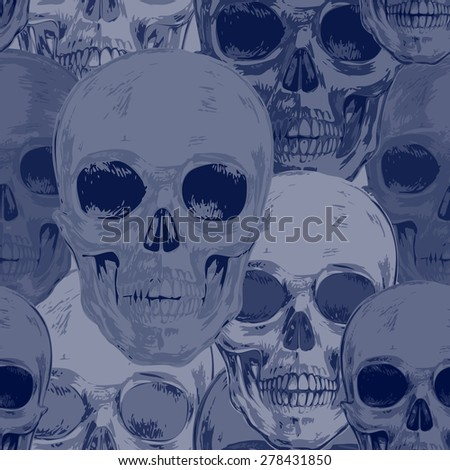 Seamless pattern with skulls. Vector. Illustration for textiles, wallpaper, fabrics, packaging cover. Black and white.