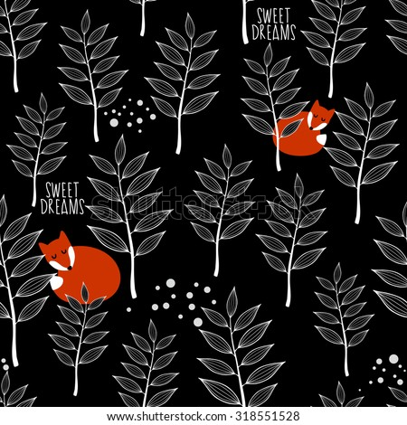 Seamless pattern with sleeping fox and winter forest. Vector repeated background. - stock vector