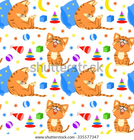 Seamless pattern with sleeping kittens, toys, moon and stars.