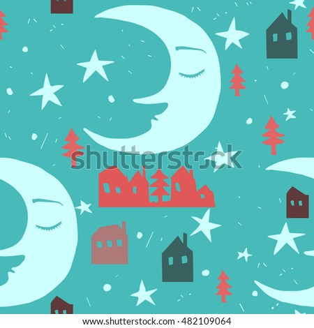 Seamless pattern with  sleeping moon, tiny houses, spruces and stars.