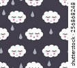 Seamless pattern with smiling sleeping clouds and drops for kids holidays. Cute baby shower vector background. Child drawing style. - stock vector