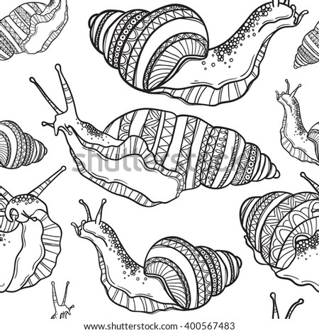 Seamless pattern with snail for coloring book. Coloring book pages for kids and adults. Illustration of a snail. Henna Mehendi Tattoo Style Doodles
