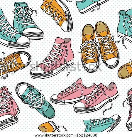 Seamless pattern with sneakers - stock vector