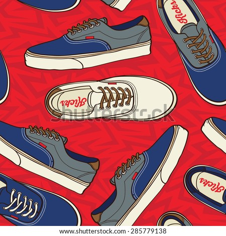 Seamless pattern with sneakers Vector background - stock vector