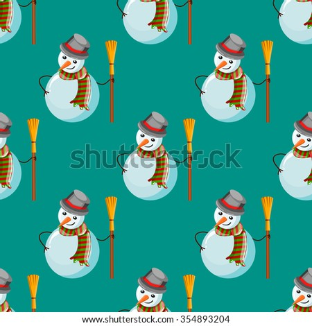 Seamless pattern with snowman. Christmas illustration. - stock vector