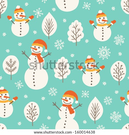 Seamless pattern with snowmen - stock vector