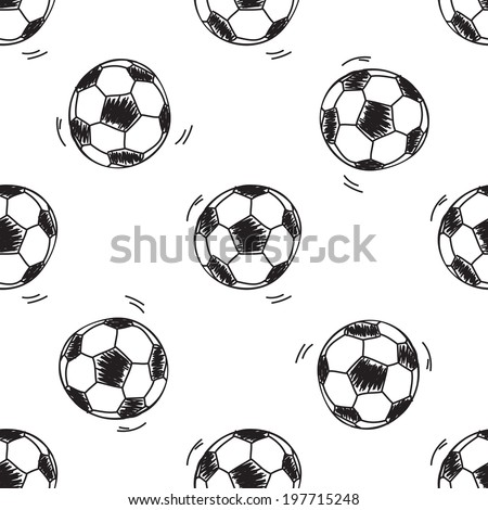 Seamless pattern with soccer balls on white background - stock vector