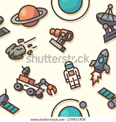 Seamless pattern with space icons. Vector illustration. - stock vector