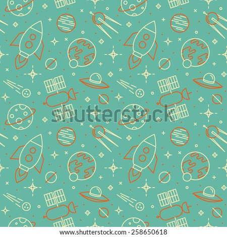Seamless pattern with space, rockets, comet, satellites, planets and stars. Childish background.