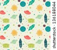 Seamless pattern with space, rockets, planets and stars. Childish background. Vector illustration. - stock vector