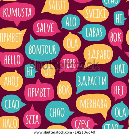 Seamless Pattern With Speech Bubbles The Word Hello In Different Languages Welcome Background