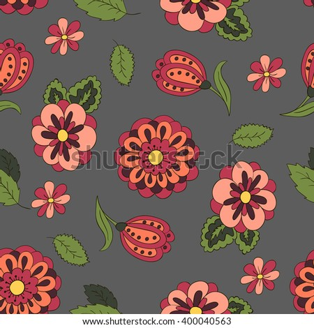 Seamless pattern spring flowers cover background stock vector seamless pattern with spring flowers cover background gray red and green colors mightylinksfo