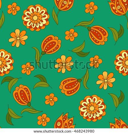 Seamless pattern spring flowers cover background stock vector seamless pattern with spring flowers cover background orange and green colors green mightylinksfo