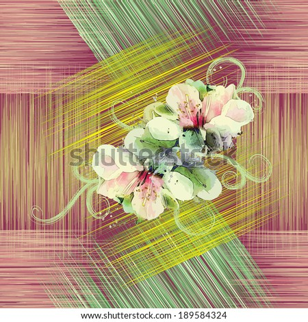 Seamless pattern with spring flowers on grunge striped colorful background - stock vector