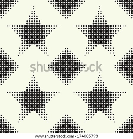 Seamless pattern with stars and diamonds. Vector halftone dots. - stock vector