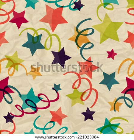 Seamless pattern with stars and serpentine on crumpled paper. - stock vector