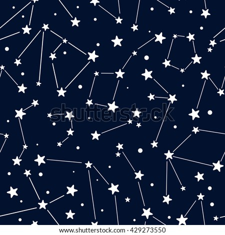 Seamless pattern with stars. Vector sketch background. - stock vector