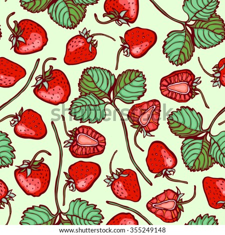 Seamless pattern with strawberries. - stock vector