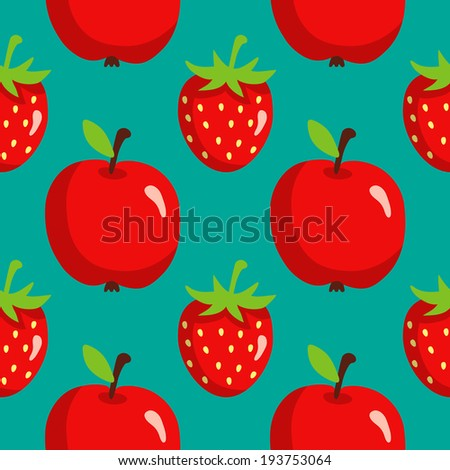 Seamless pattern with strawberries and apples on green background. Endless print texture. Food. Fruit. Berry. Simple. Cartoon hand drawing illustration - vector  - stock vector