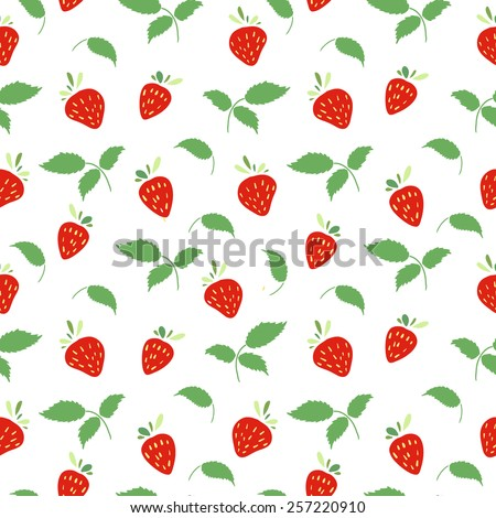 Seamless pattern with strawberries and leaves. Simple colors. Vector. - stock vector