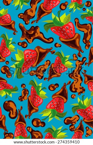 Seamless pattern with strawberry and chocolate on blue background. - stock vector
