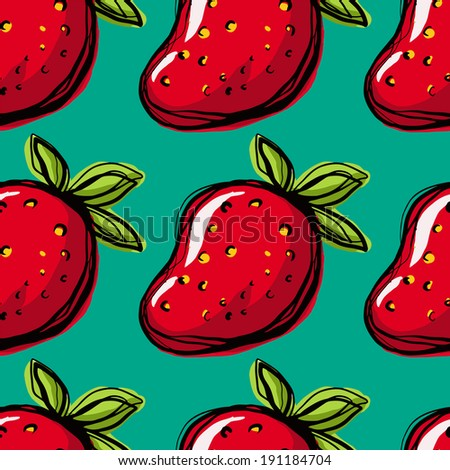 Seamless pattern with strawberry on green background. Endless print texture. Food. Fruit. Berry. Simple. Scribble. Cartoon hand drawing illustration - vector - stock vector