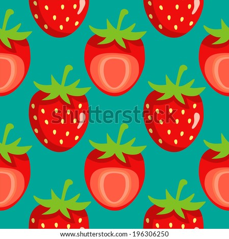 Seamless pattern with strawberry on green background. Endless print texture. Food. Fruit. Berry. Simple. Cartoon hand drawing illustration - vector  - stock vector