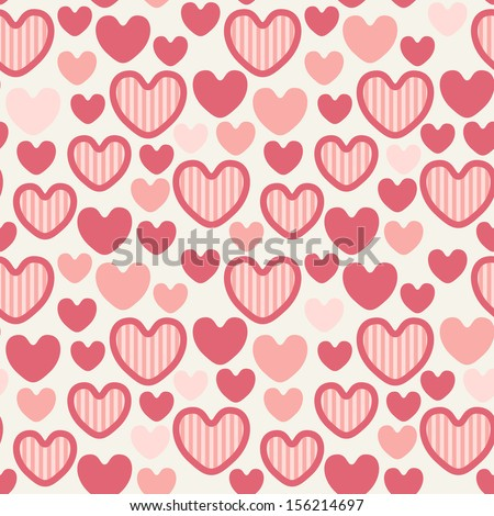 Seamless pattern with striped hearts. Valentine's Day background. Holiday cute texture. Vector repeating print