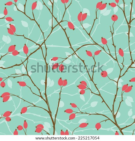 Seamless pattern with styled rosehips - stock vector