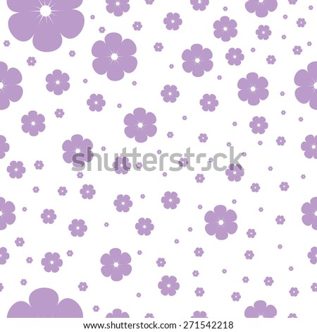 seamless pattern  with stylized beautiful red cherry blossom - stock vector