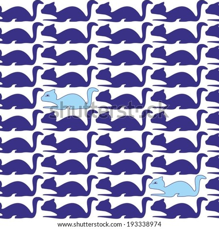 Seamless pattern with stylized cat blue color, vector, background - stock vector