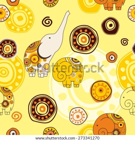 seamless pattern with stylized elephant on ornament backdrop - stock vector