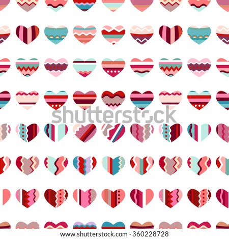 Seamless pattern with stylized hearts. Endless festive texture for your design, greeting cards, announcements, posters.  - stock vector