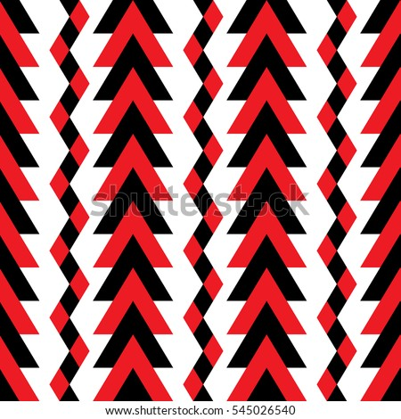 Seamless pattern with stylized river and forest in red and black colors on the white background. Vector.