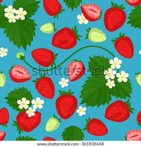 Seamless pattern with stylized strawberries - stock vector