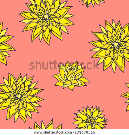Seamless pattern stylized yellow flowers on stock vector 191678516 seamless pattern with stylized yellow flowers on the coral color background mightylinksfo